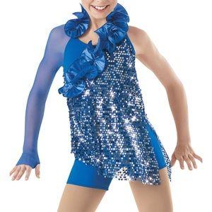 Weissman Sequin Ruffle Biketard Dance Costume MC